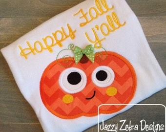 Funny Pumpkin Appliqué embroidery Design - Halloween Appliqué Design - pumpkin Applique Design - Thanksgiving Appliqué Design - fall