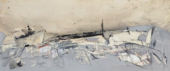 Paysage abstrait lhuile peinture original 12 x 28 gris for Peinture a lhuile couleur argent