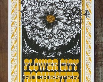 Rochester, New York-  The Flower City // Handmade Screen Print