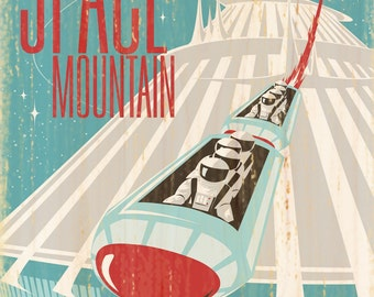 Giclee Printed Space Mountain Attraction Poster
