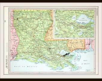 Louisiana Map, New Orleans, 1962 American State Map, Large Antique Map, Vintage Map, Collector's Item, Ready to Frame
