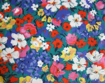 Vintage Printed Flowers Fabric by the yard - Royal/Green/White/Red/Pink/Purple and Yellow 36 inches by 59 inches