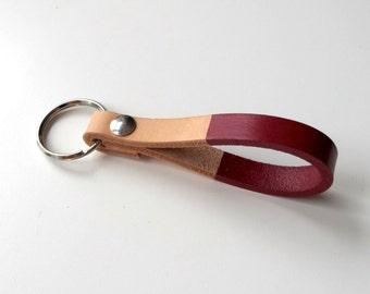 Custom Burgundy Handmade Leather Keychain