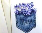 """5x7 """"Violets Are Blue"""" Card - Print of Original Watercolor - suitable for framing"""