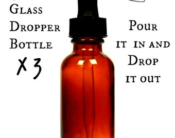 Three Amber Glass Bottle with Dropper - 4oz - Glass Dropper - Empty Glass Dropper Bottle - Amber Dropper Bottle - Amber Glass Dropper Bottle