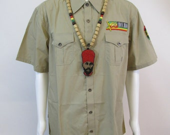 Mens Khaki Rasta Button Woven Short Sleeve Shirt | Rasta Clothing | Lion of Judah | Star Of David