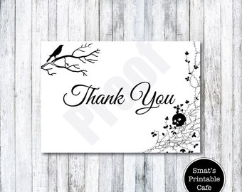 Halloween Wedding Thank You Cards Template DIY Printable   Gothic Theme    Editable   Edit In  Microsoft Word Thank You Card Template