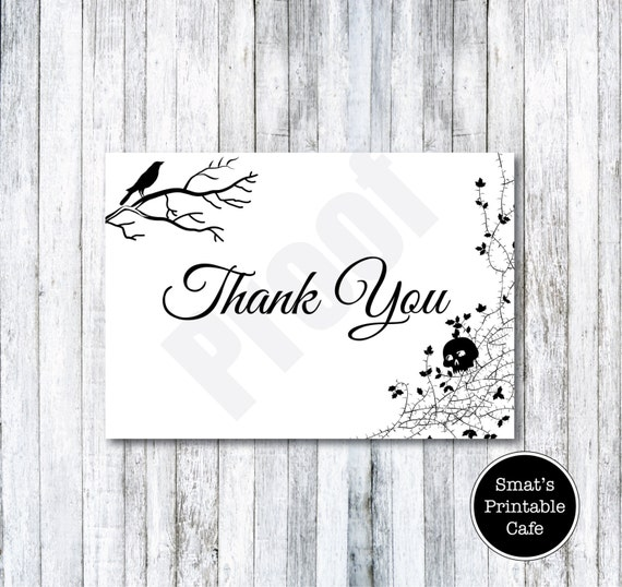 Halloween Wedding Thank You Cards Template DIY Printable – Microsoft Word Thank You Card Template