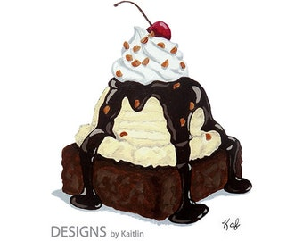 Brownie Ice Cream Sundae Dessert 5x7 Print from Acrylic Painting