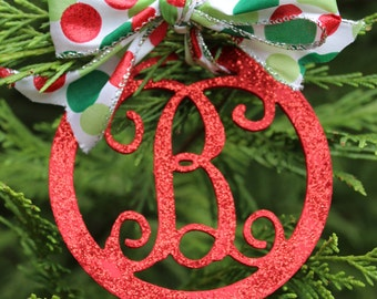 Red Glitter Monogram Christmas Ornament