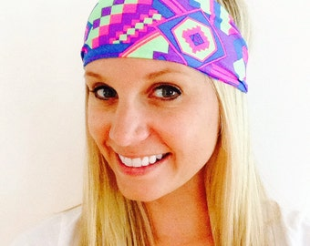 The Neon Aztec Spandex Headband