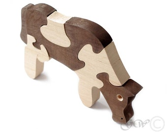 Wooden Puzzle Cow, Wooden toys. Wooden Animal Puzzle. M215