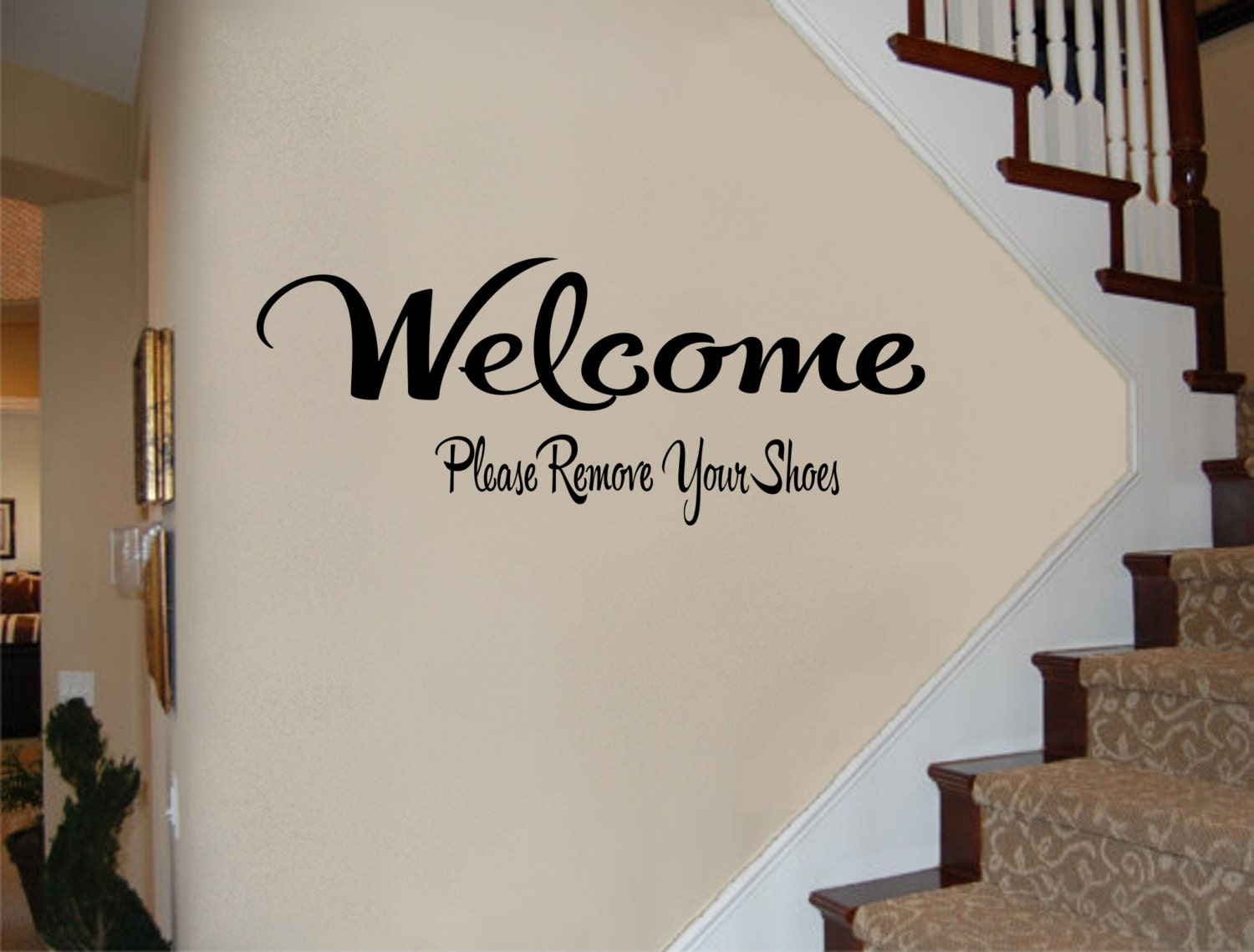 Welcome Sign Welcome Please Remove Your Shoes Wall Decal - Custom vinyl wall decals cheap   how to remove