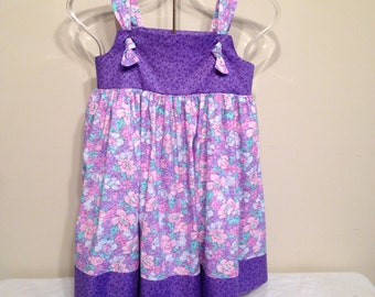 Pink and Purple Floral Tie Dress with bloomers Girls size 5 Sale