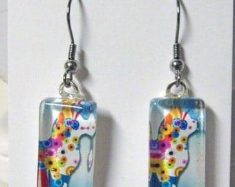 Cat profile in multi colors earrings - CGP07-007