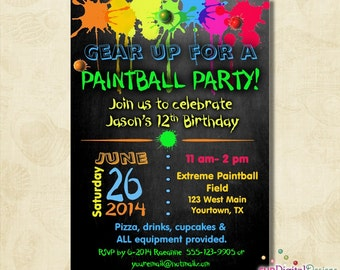 Birthday Paintball Party Invitation, Birthday Party, Boys birthday, paint ball, Invite, printable, digital file