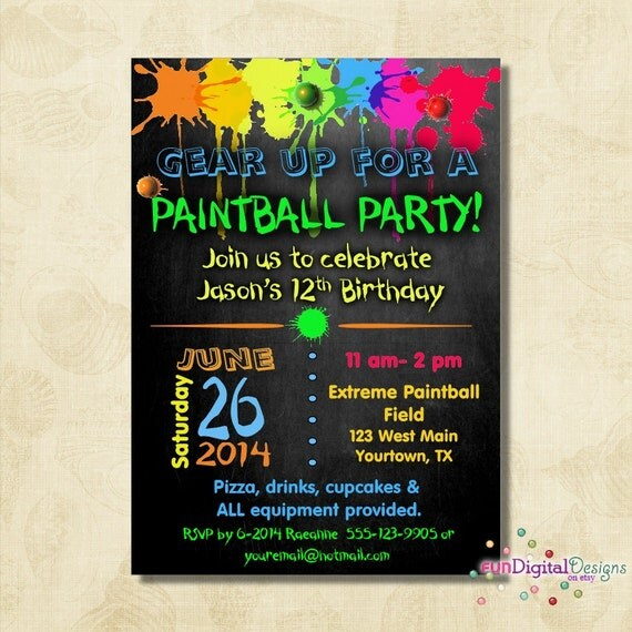 Birthday paintball party invitation birthday party boys birthday il570xn filmwisefo