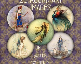 INSTANT DOWNLOAD 20 Round Images - Vintage Illustrations for Fairy Tales - Digital Collage Sheet for Jewelry and Crafts