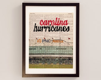 Carolina Hurricanes Dictionary Art Print - PNC Arena - Vintage Dictionary Paper - Hockey Art, North Carolina, Gift For Him