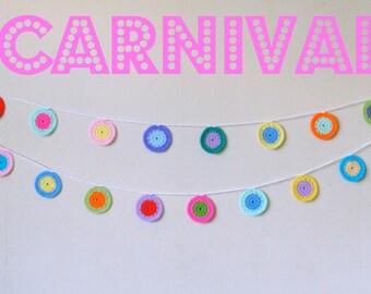 Confetti and Carnival Garland PDF Pattern Crochet Circles bunting.