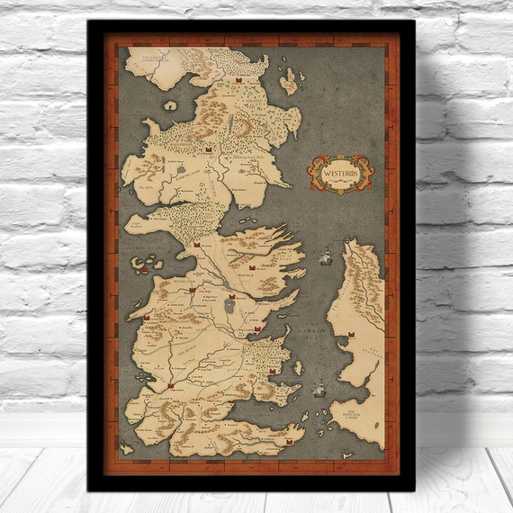 game of thrones map vintage style map fan art by. Black Bedroom Furniture Sets. Home Design Ideas