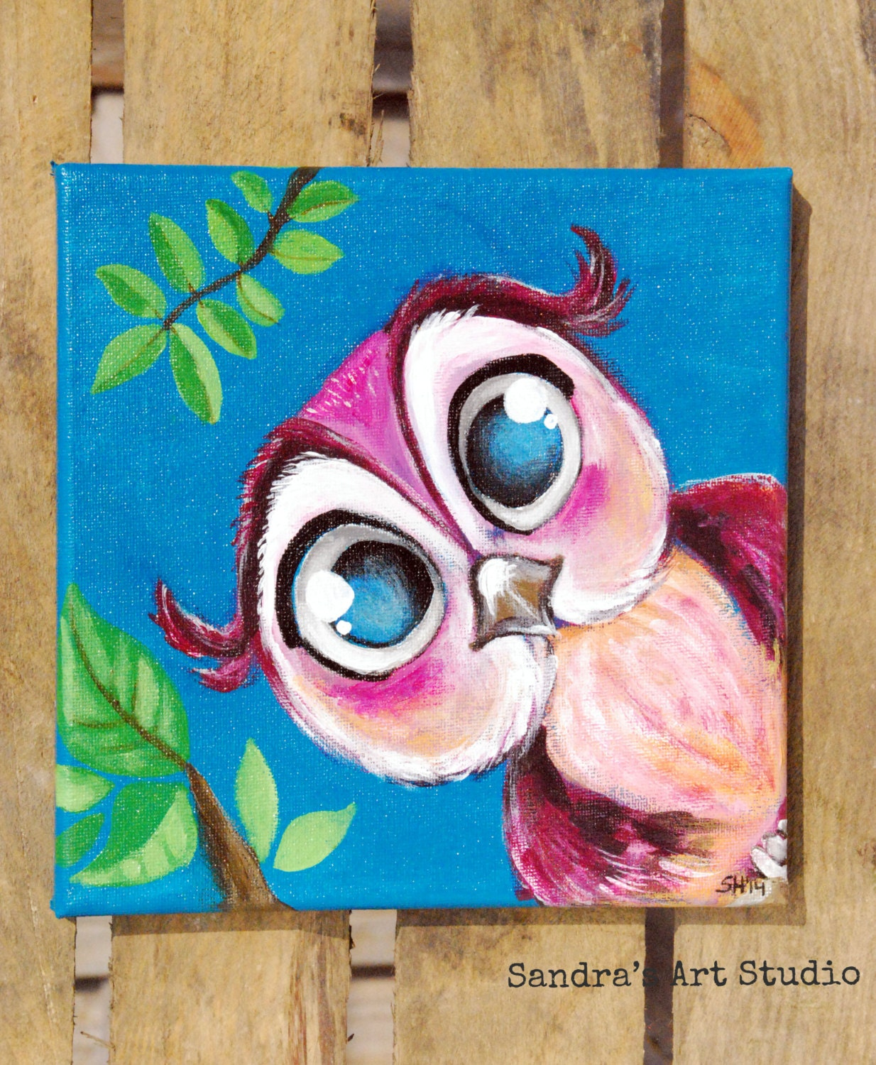 Kids Art CUTE Litte OWL Acrylic Painting On Canvas 78x78 Inch For Nursery And Bedroom 304