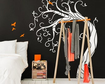 Abstract Curly  tree - Large vinyl wall  tree decal with  migratory bird stickers, wall mural - MM024