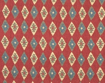 Southwest Style Diamond Chenille Upholstery Fabric By The Yard | Red, Blue And Beige | Pattern # J754
