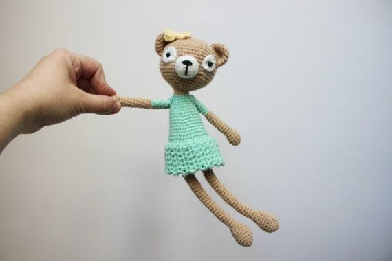 Crochet Bear Amigurumi Bear Girl With a Green Dress