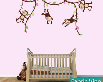 Monkey Wall Decals, Monkeys on Vines, Monkey Wall Stickers for Nursery or Girls Room, GreenPink (V81_MB62_MF74_10_47_16), MVD