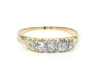 Antique Diamond Band in 18k Yellow Gold from 1900's