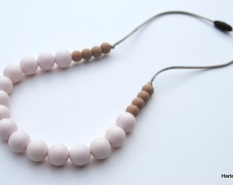 Silicone Teething Necklace / Silicone Nursing Necklace - White & Coffee