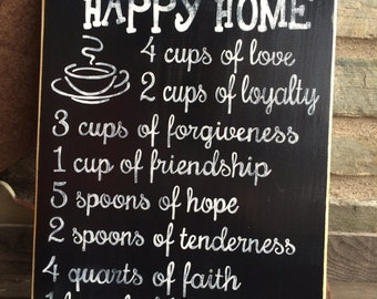 Recipe for a Happy Home - Hand painted wooden sign - Black