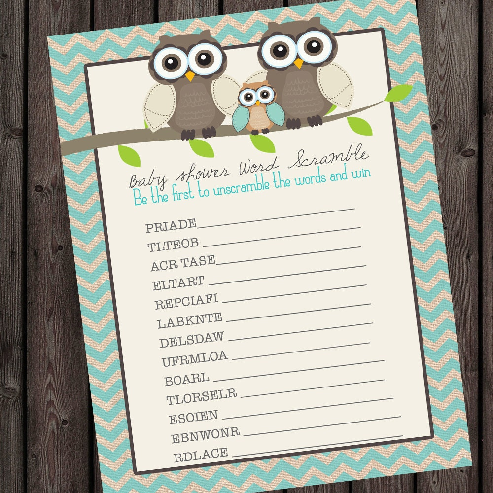 Baby Shower Game. Owl Theme Word Scramble Instant Download