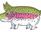 Pig Rainbow Trout Decal