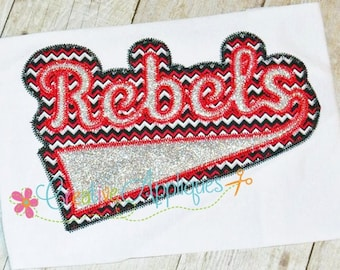 Rebels Digital Machine Embroidery Applique Design 6 sizes, rebels mascot, rebels applique, rebels name, rebels word, rebels team, rebels