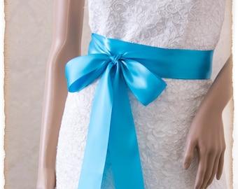 TURQUOISE Bridal Sash, Satin Ribbon Sash, Wedding Sash, Satin Bridal Sash, Bridesmaids Sash, Bridal Belt, Blue Bridal Sash