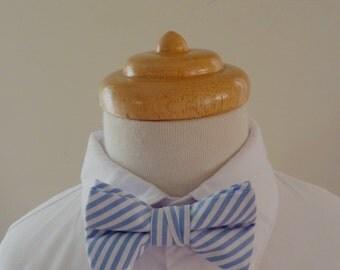 Blue striped cotton baby bowtie / boys bowtie / children's bowtie