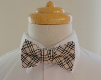 Beige and black checkered cotton baby bowtie/ boys bowtie / children's bowtie