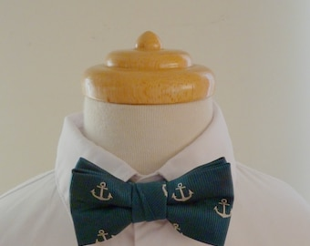 Blue anchor silk baby bowtie/ boys bowtie / children's bowtie