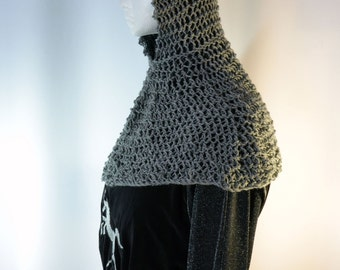 Chainmail Hood Knitting Pattern : Faux chain mail coif and collar, a hand knit maille hood ...