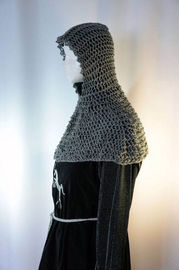 Faux Chain Mail Coif And Collar A Hand Knit Maille Hood And