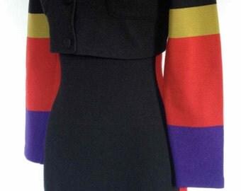 Vintage1980s Andrea Jovine Wool 2pc Ensemble/Sleeveless Dress & Cropped Jacket/ Color Block and Stripes M