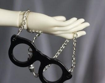 MSD BJD Necklace: Hipster Glasses - Black