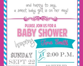 Tickled Pink Baby Shower Invitation, Baby Girl Shower Invitation, Pink and Teal Invitation