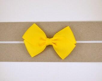 Yellow Grosgrain Bow Headband - Baby Headband - Toddler Headband - Adult Headband