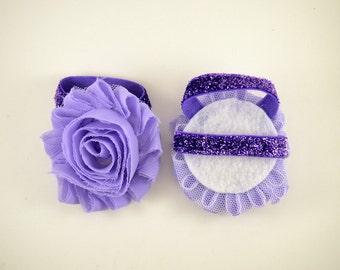 Lavender Purple Glitter Barefoot Baby Sandals - Shoe Clips - Baby Sandals - Baby Shoes - Infant Sandals