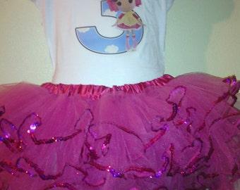 Lalaloopsy Dress Birthday Outfit 2pc Tutu set 1T,2T,3T,4T,5T,6T..