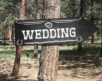 Western Wedding DIRECTIONAL signs - Chalkboard Style - PRINTABLE file - diy Western Wedding or event signage