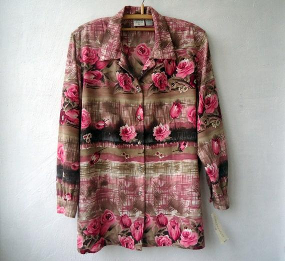 Topshop Long Sleeve Rose Print Blouse 28